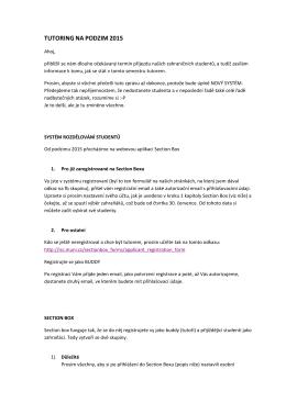 Popis přihlášení na tutoring a proces výběru studenta