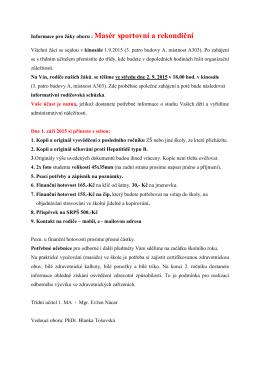 Informace pro žáky oboru : Masér sportovní a rekondiční