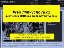 Web filmvychova.cz internetová platforma pro filmovou výchovu