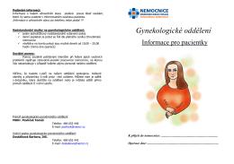 Informační brožura pro gynekologické oddělení