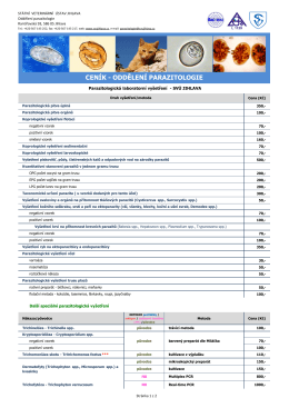 Ceník - Oddělení parazitologie - Státní veterinární ústav Jihlava