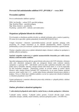 """Provozní řád ambulantního oddělení SVP """"DVOJKA"""""""