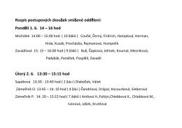 Rozpis postupových zkoušek smíšené oddělení: Pondělí 1. 6. 14