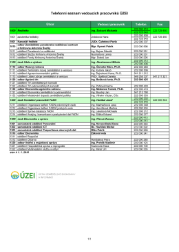 Telefonní seznam vedoucích pracovníků ÚZEI