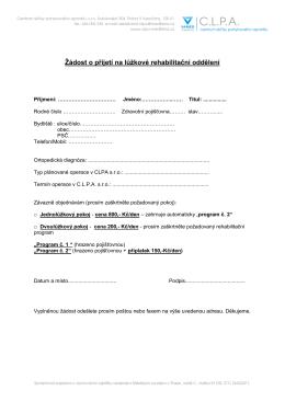 Žádost o přijetí na lůžkové rehabilitační oddělení