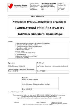 LABORATORNÍ PŘÍRUČKA KVALITY Oddělení laboratorní