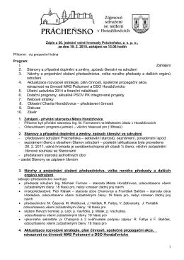 Zápis z 20. jednání valné hromady Prácheňska 19.02.2015
