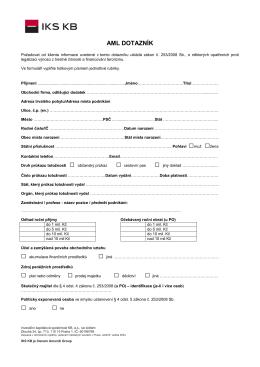 AML dotazník - IKS KB a.s.