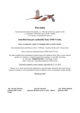 Benefiční hon 2015 - pozvánka - Okresní myslivecký spolek VSETÍN