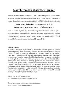 Návrh tématu disertační práce