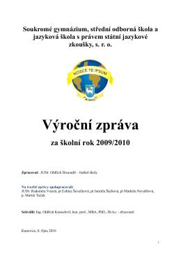 Vyroční zprává za rok 2009/2010