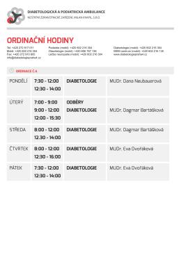 ORDINAČNÍ HODINY - Milan Kvapil, s.r.o.