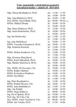 Konzultační hodiny v zimním semestru 2014 - 2015