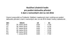 (úřední hodiny DNE 2016)