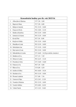 Konzultační hodiny pro šk. rok 2015/16