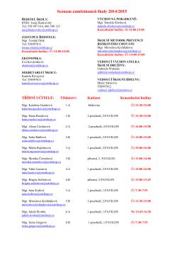 Zaměstnanci školy a konzultační hodiny v pdf