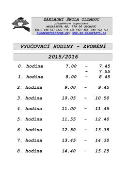 vyučovací hodiny - Základní škola Olomouc, Mozartova 48