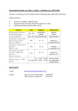 Konzultační hodiny pro žáky a rodiče ve školním roce 2009/2010
