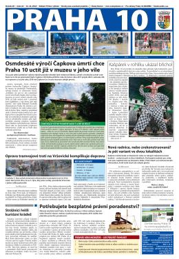 Osmdesáté výročí Čapkova úmrtí chce Praha 10