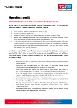 Opoziční audit MSMT, MK, MSp