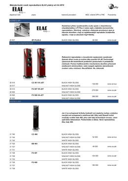 Maloobchodní ceník reproduktorů ELAC platný od 4.6 - Elac