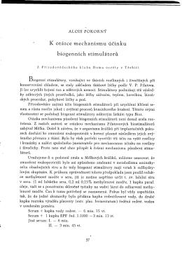 Alois Pokorný: K otázce mechanismu účinku biogenních stimulátorů