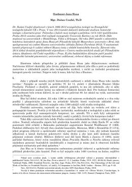 Osobnost Jana Husa Mgr. Dušan Coufal, Th.D Dr