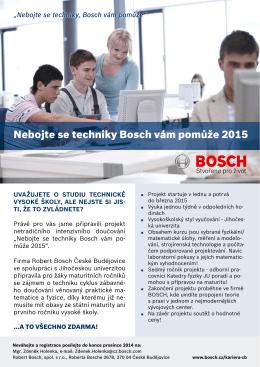 Nebojte se techniky Bosch vám pomůže 2015
