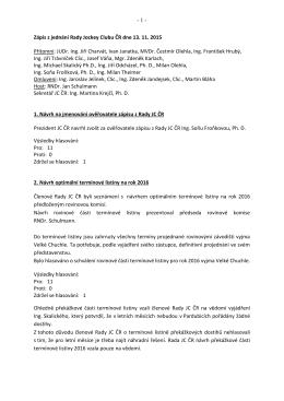 Zápis z Rady JC ČR 13.11.2015