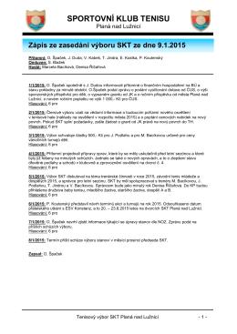 Zápis ze schůze konané dne 9.1.2015