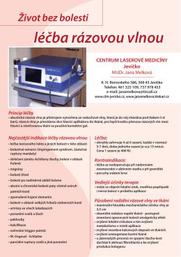 Leták: Léčba rázovou vlnou - Centrum laserové medicíny