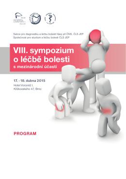 VIII. sympozium o léčbě bolesti