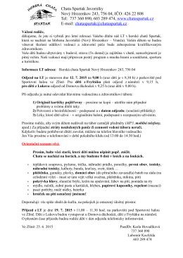 Pokyny k odjezdu - Po stopách Odyssea 2015
