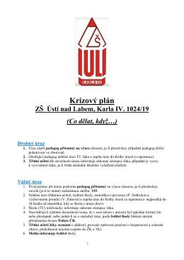 Krizový plán 2015-2016 - Základní škola Ústí nad Labem, Karla IV