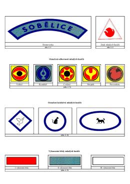 Domovenka Znak mladých hasičů Označení odborností mladých