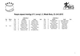 Rozpis zápasů Interligy U11, turnaj č. 2, Mladé Buky, 23.
