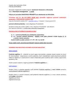 registrace předmětů a zápis do 1.ročníku