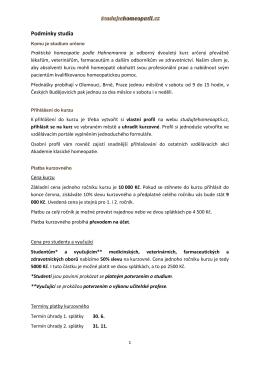 Podmínky studia 2015-2016