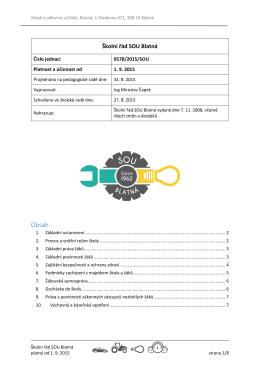 Školní řád SOU Blatná platný od 1. 9. 2015