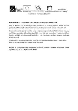 """Prezenční kurz """"Koučování jako metoda rozvoje potenciálu lidí"""""""