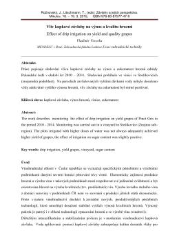 Vliv kapkové závlahy na výnos a kvalitu hroznů Effect of