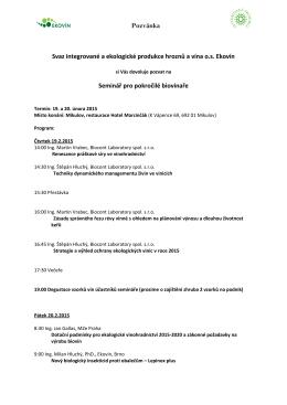 Pozvánka Svaz integrované a ekologické produkce hroznů a vína os