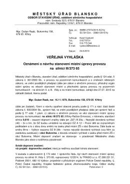 Veřejná vyhláška úprava provozu u ZŠ