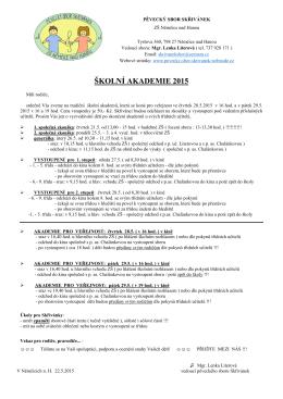 Akademie 2015 - PS info pro rodiče