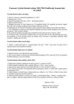 Usnesení výroční členské schůze MO ČRS Poděbrady konané dne