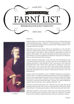 Farní List Únor 2015
