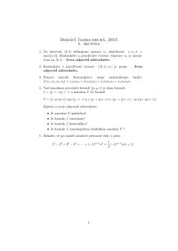 Domác´ı úloha-druhá, 2015 1. skupina
