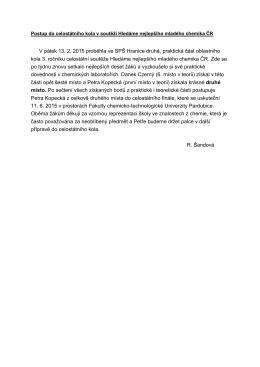 V pátek 13. 2. 2015 proběhla ve SPŠ Hranice druhá, praktická část