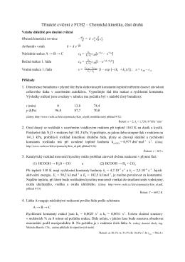 Třinácté cvičení z FCH2 – Chemická kinetika, část druhá