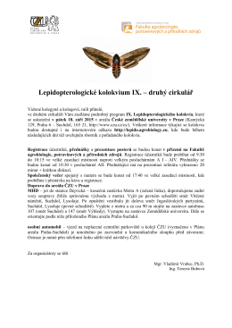 Lepidopterologické kolokvium IX. – druhý cirkulář
